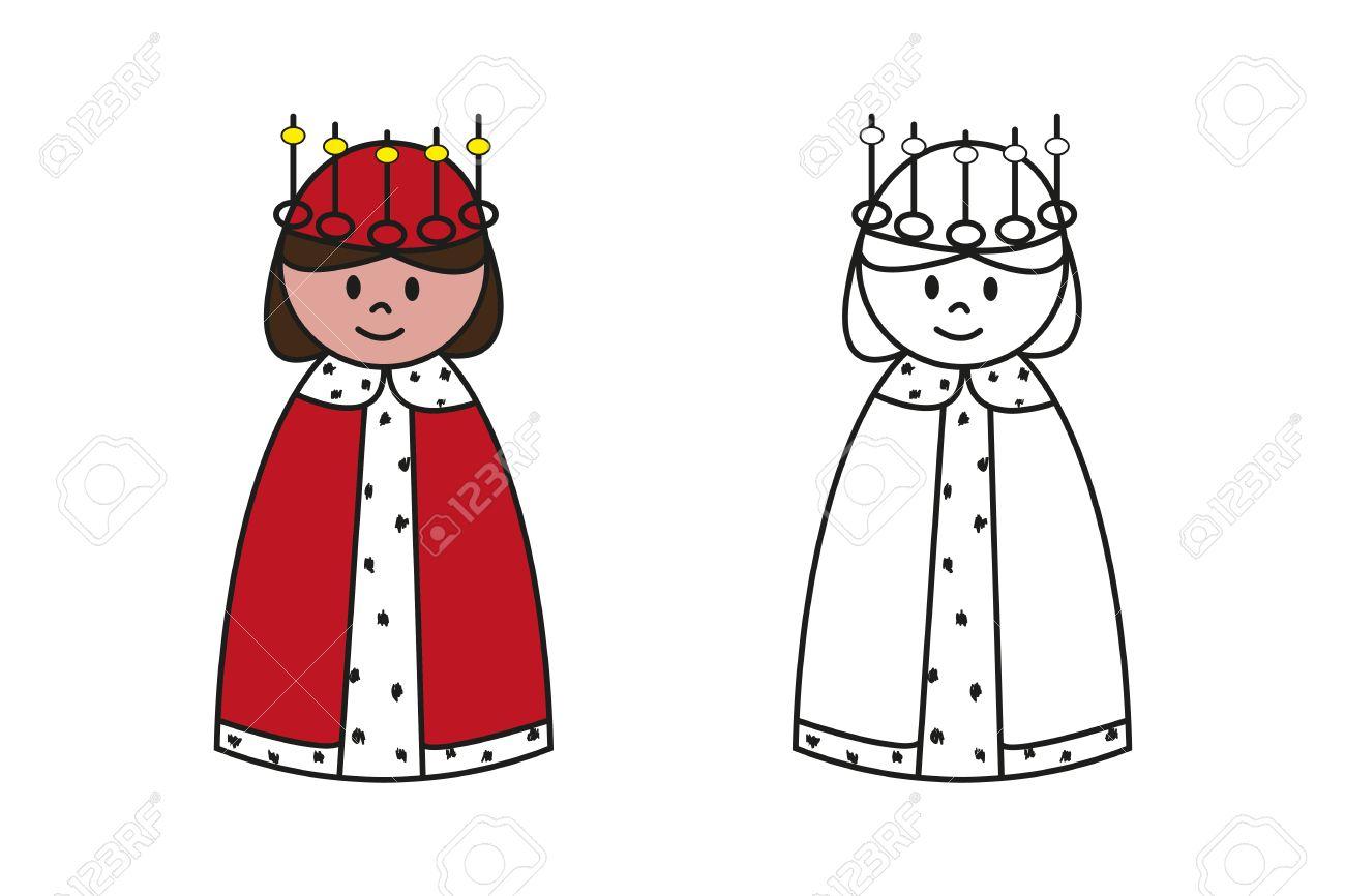 Set Of Colored And Outline Cartoon Queen For Preschool Children ...