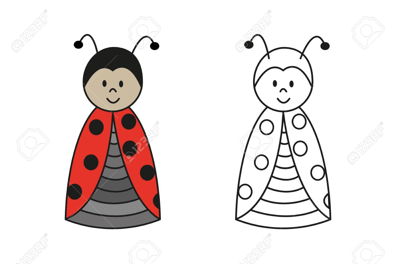 Conjunto De Color Y Contorno De Dibujos Animados De La Mariquita Para Niños En Edad Preescolar Para Colorear Libro