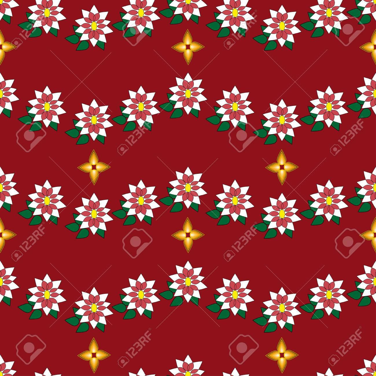 Vector Christmas Seamless Poinsettia Sur Fond Rouge Peut être Utilisé Pour Le Papier Peint Page Web Fond Papier D Emballage De Noël Imprimer Sur