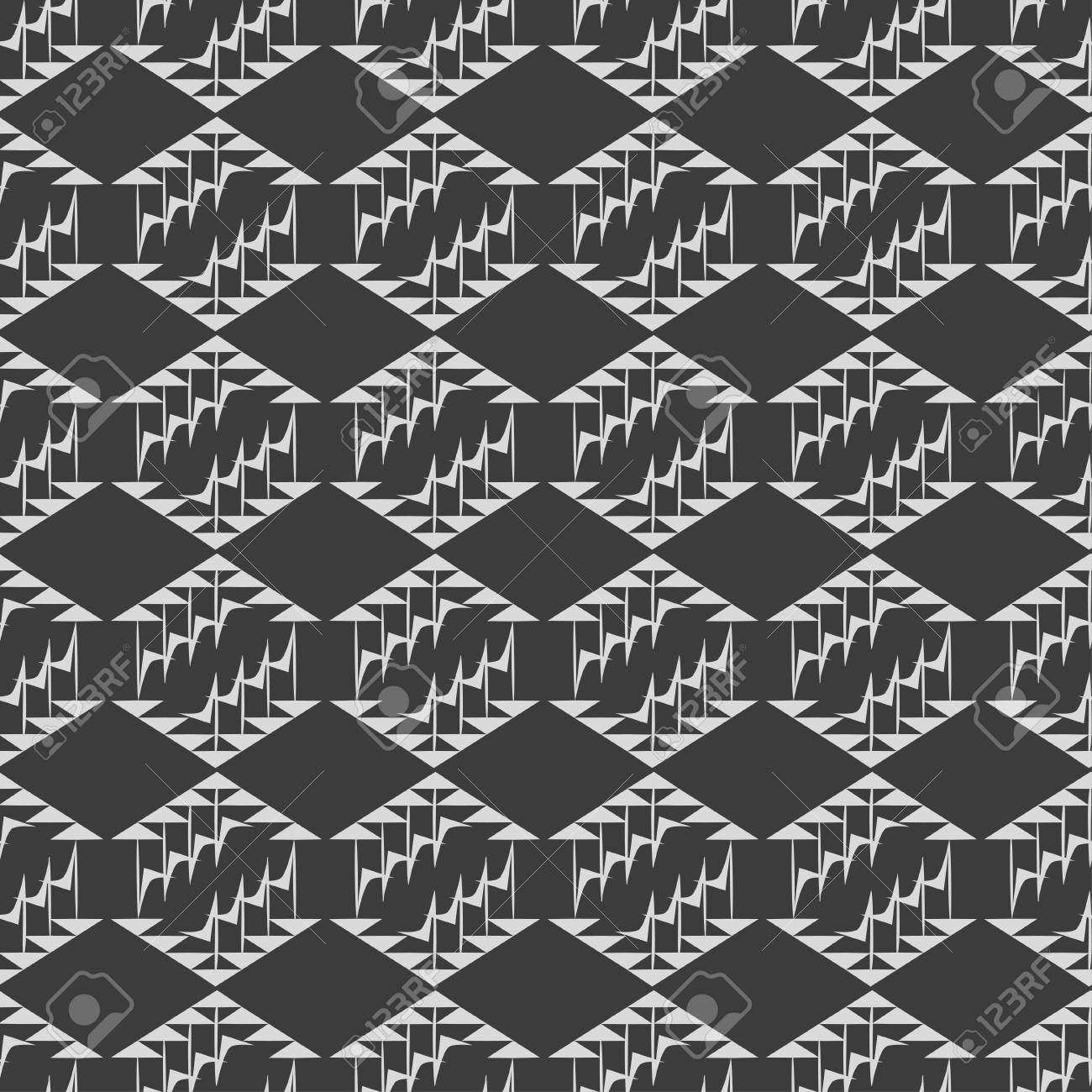 Black And White Geometric Seamless Pattern With Diamonds And