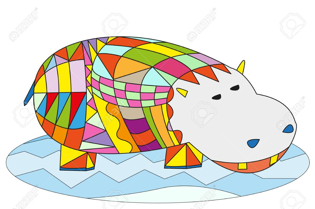 Hipopótamo Multicolor En El Agua, Ilustración Vectorial Personaje De ...