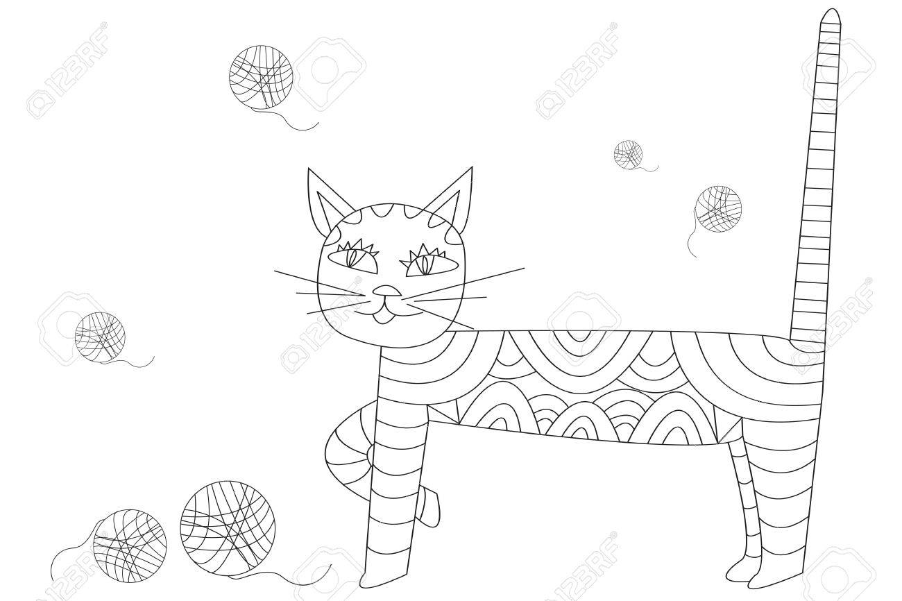 手描きのベクトル アウトライン猫とボール イラスト絵本 T シャツ