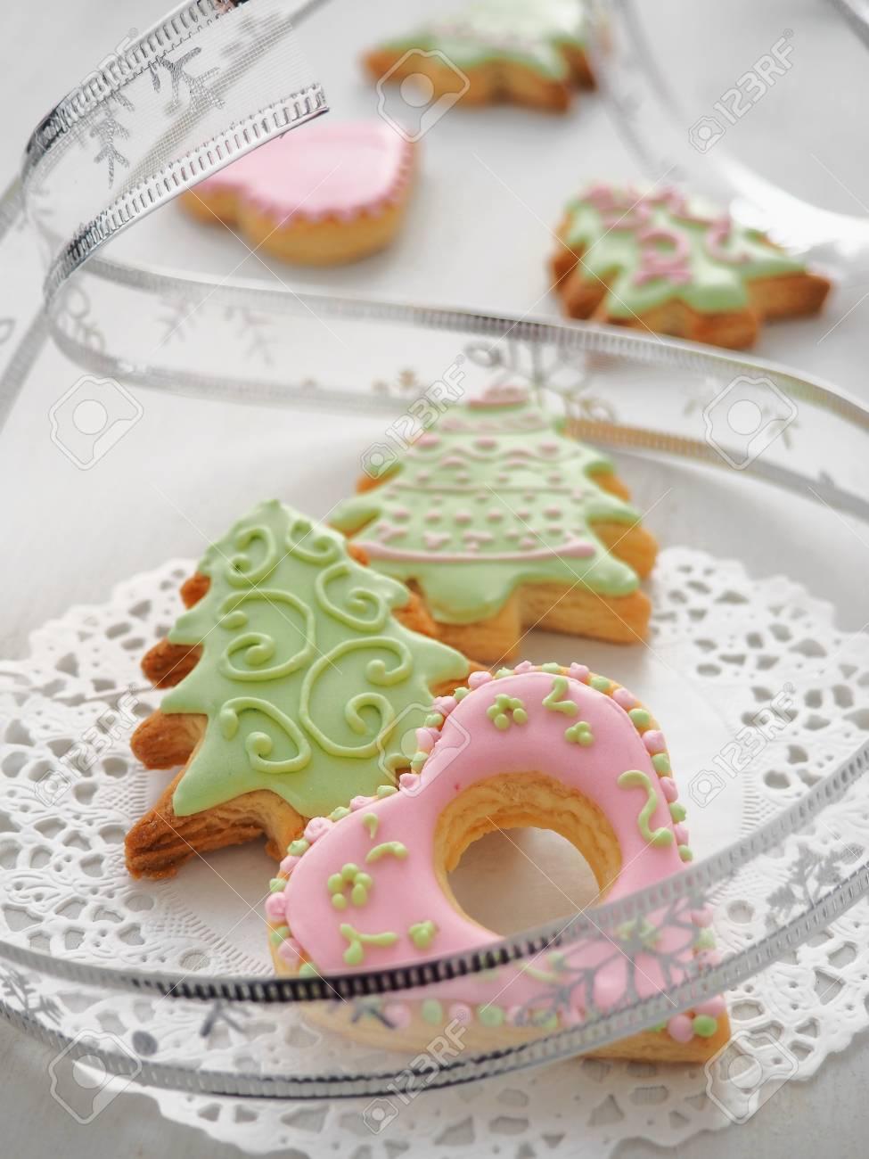 Homemade Christmas Sugar Cookies Glazed With Royal Icing Christmas