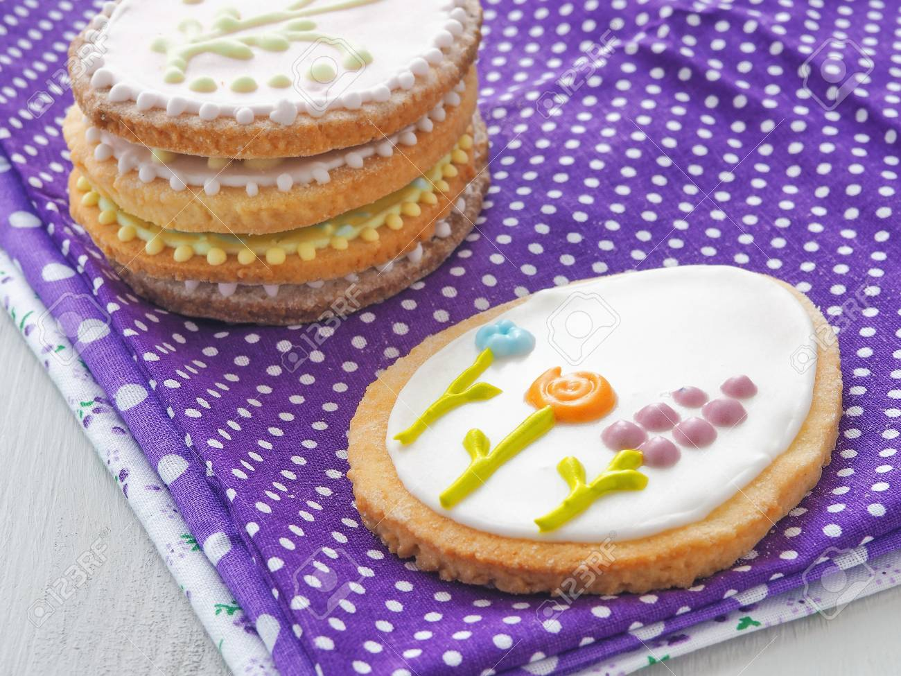 Easter gift homemade sugar cookies with floral ornament easter gift homemade sugar cookies with floral ornament gingerbread cookies decorated in the shape negle Image collections