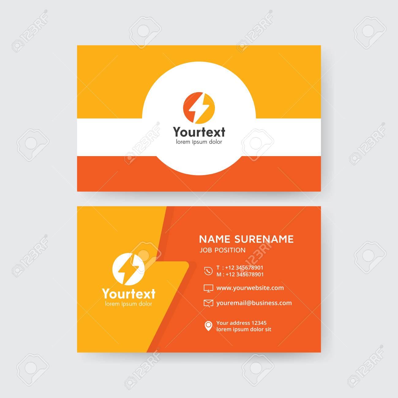 Carte De Visite Creative En Couleur Jaune Et Orange Modele Propre Vecteur Moderne Design Plat Avec Logo Symbole