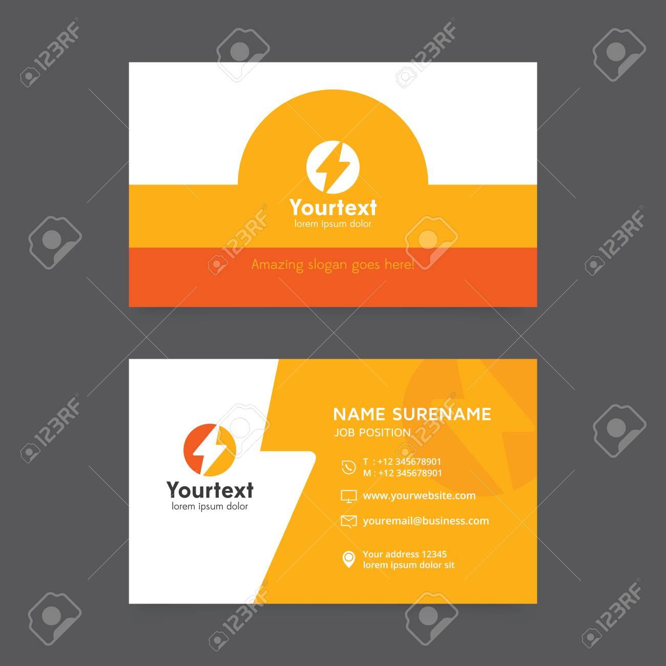 Carte De Visite Creative En Couleur Jaune Et Orange Vecteur Moderne Creatif Modele Design Plat Avec Logo Symbole