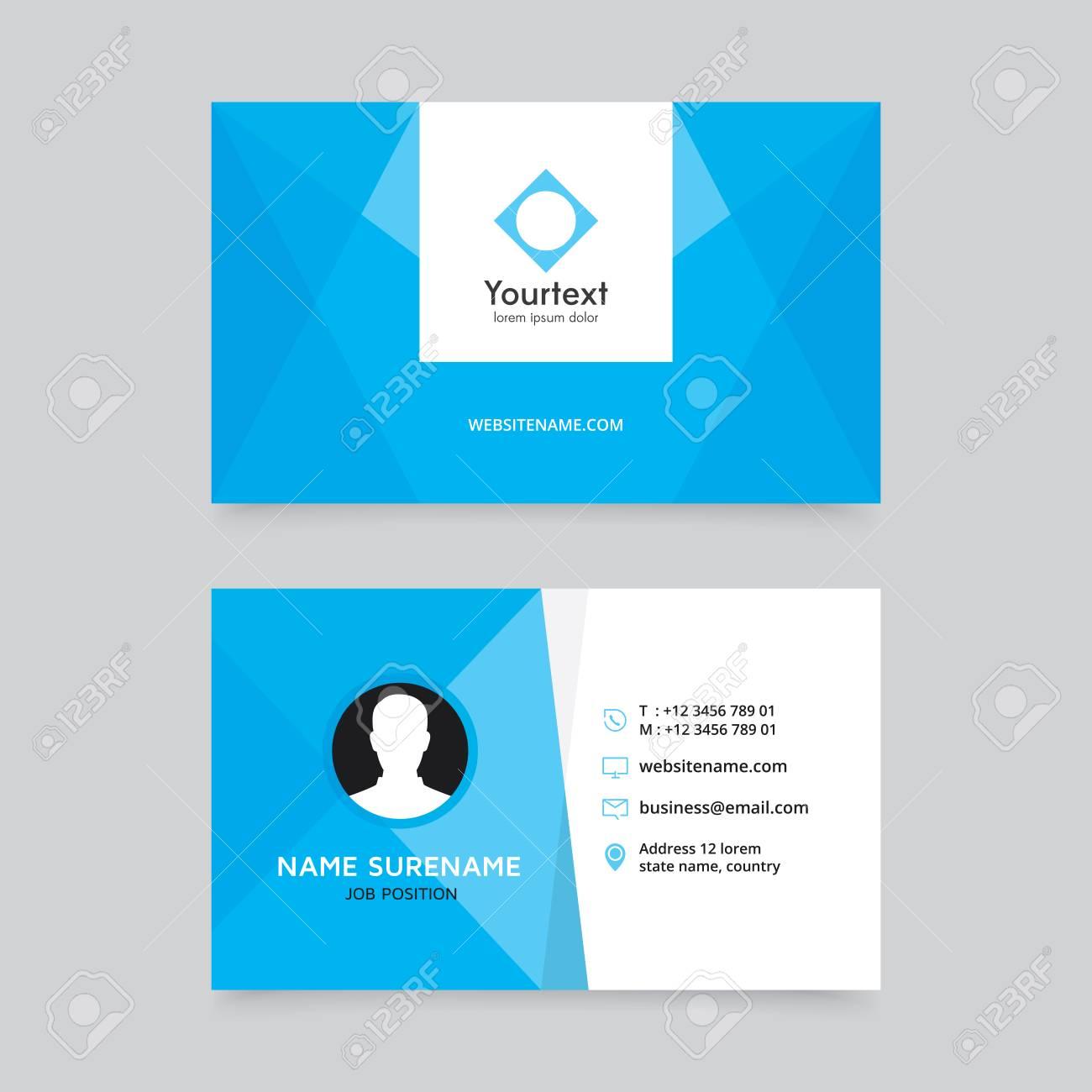 Conception De Carte Visite Elegante Propre Bleu Modele Moderne Creative Et Vecteur Design Plat Avec Couleur Bleue