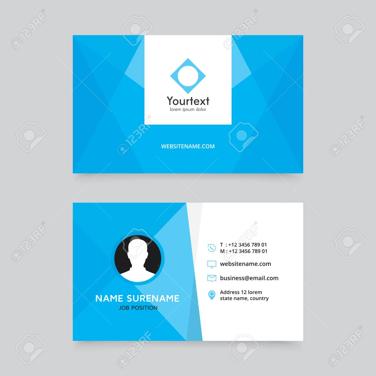elegant clean blue business card design vector modern creative