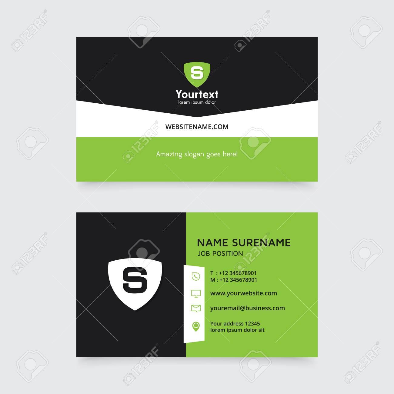 Modele De Carte Visite Moderne Creative Et Propre Vecteur Un Design Plat Simple Avec Couleur Verte Noire Conception