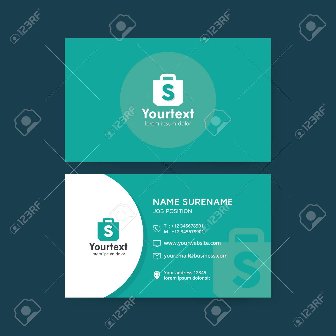 Vector modern creative and clean business card template flat vector vector modern creative and clean business card template flat simple business card design with shopping symbol business card vector template colourmoves