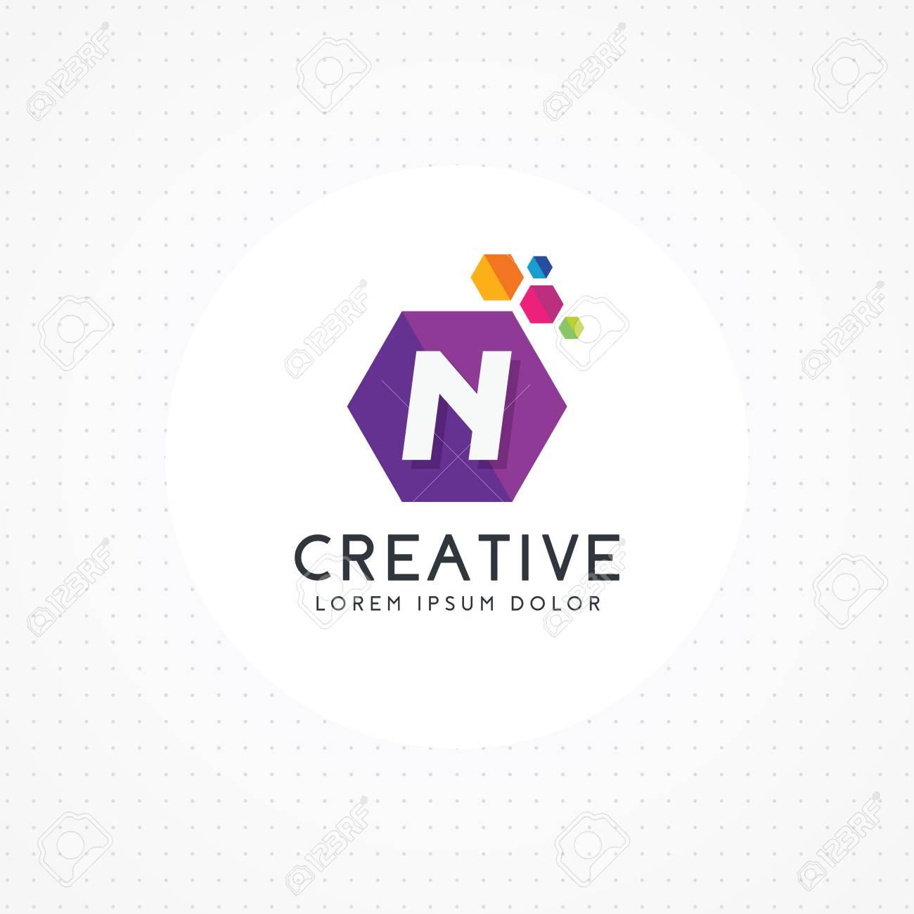 creative hexagonal letter n logo letter n logo design vector with hexagon vector logo