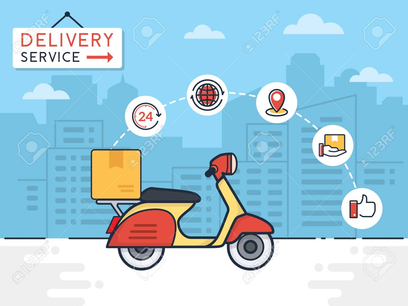 Delivery vector illustration. Delivery service with scooter motorcycle and cardboard boxes on city background. Delivery 24 hour concept. - 92934859