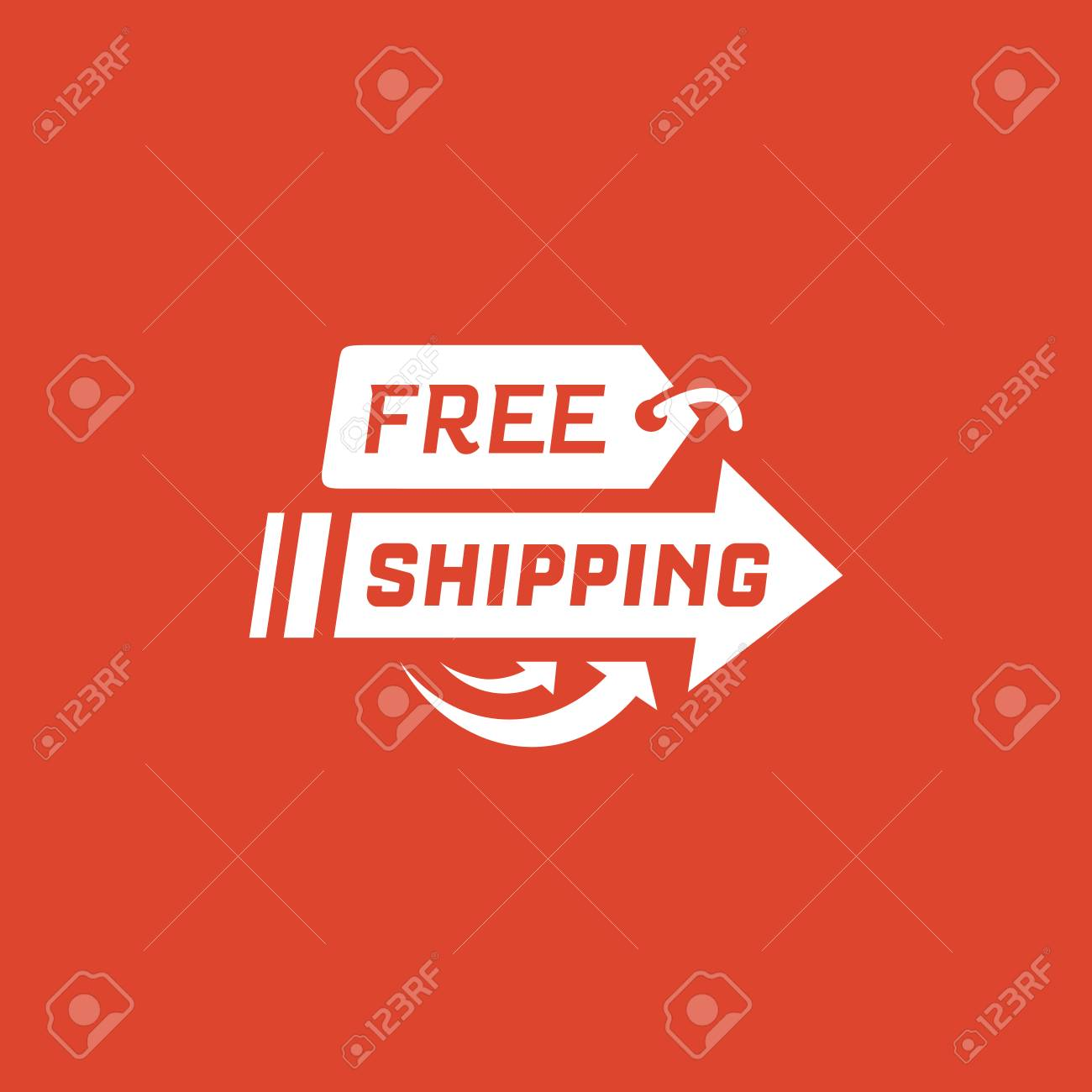 Free shipping on red background  Delivery label for online shopping