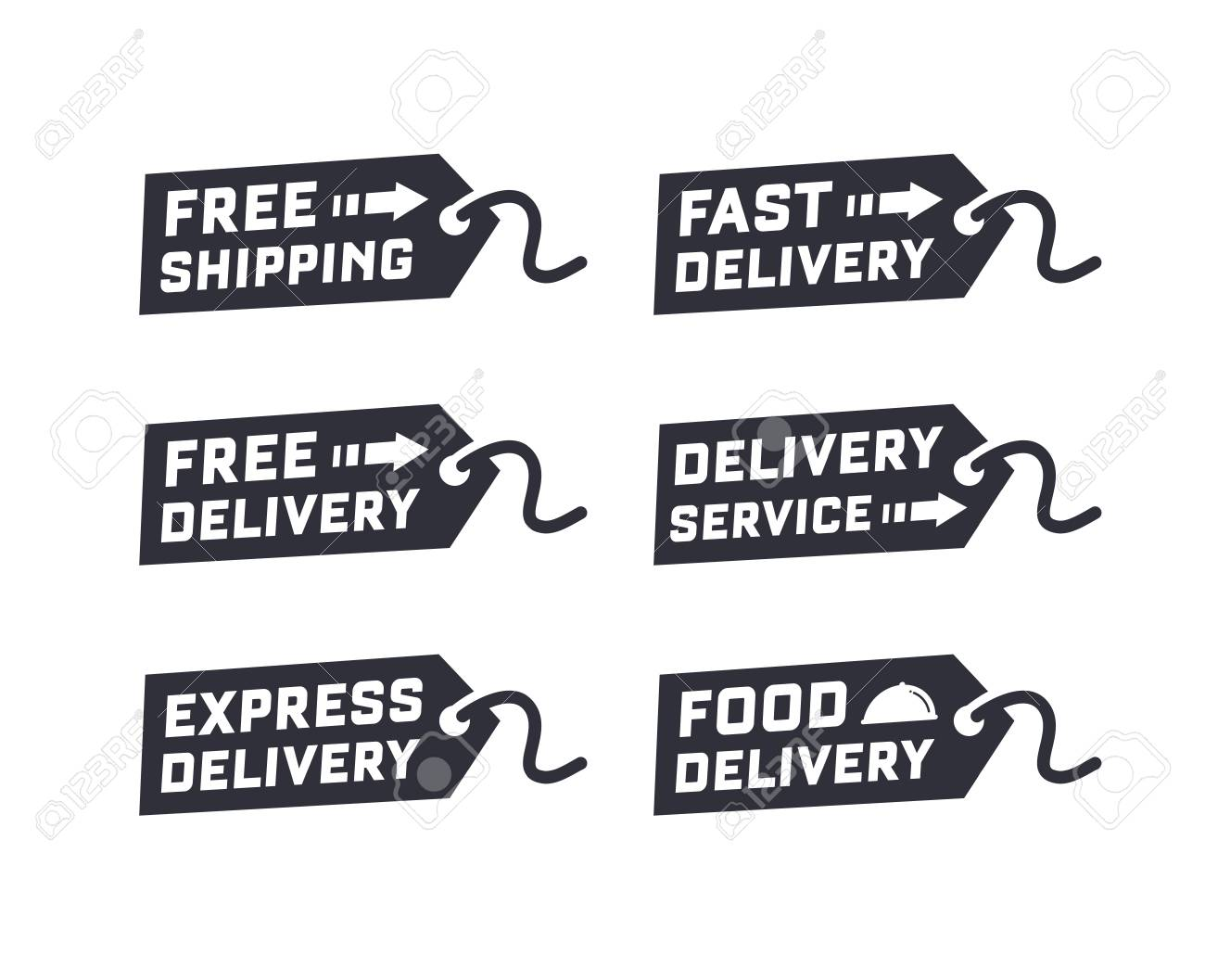 Vector set of delivery service  Free delivery, free shipping