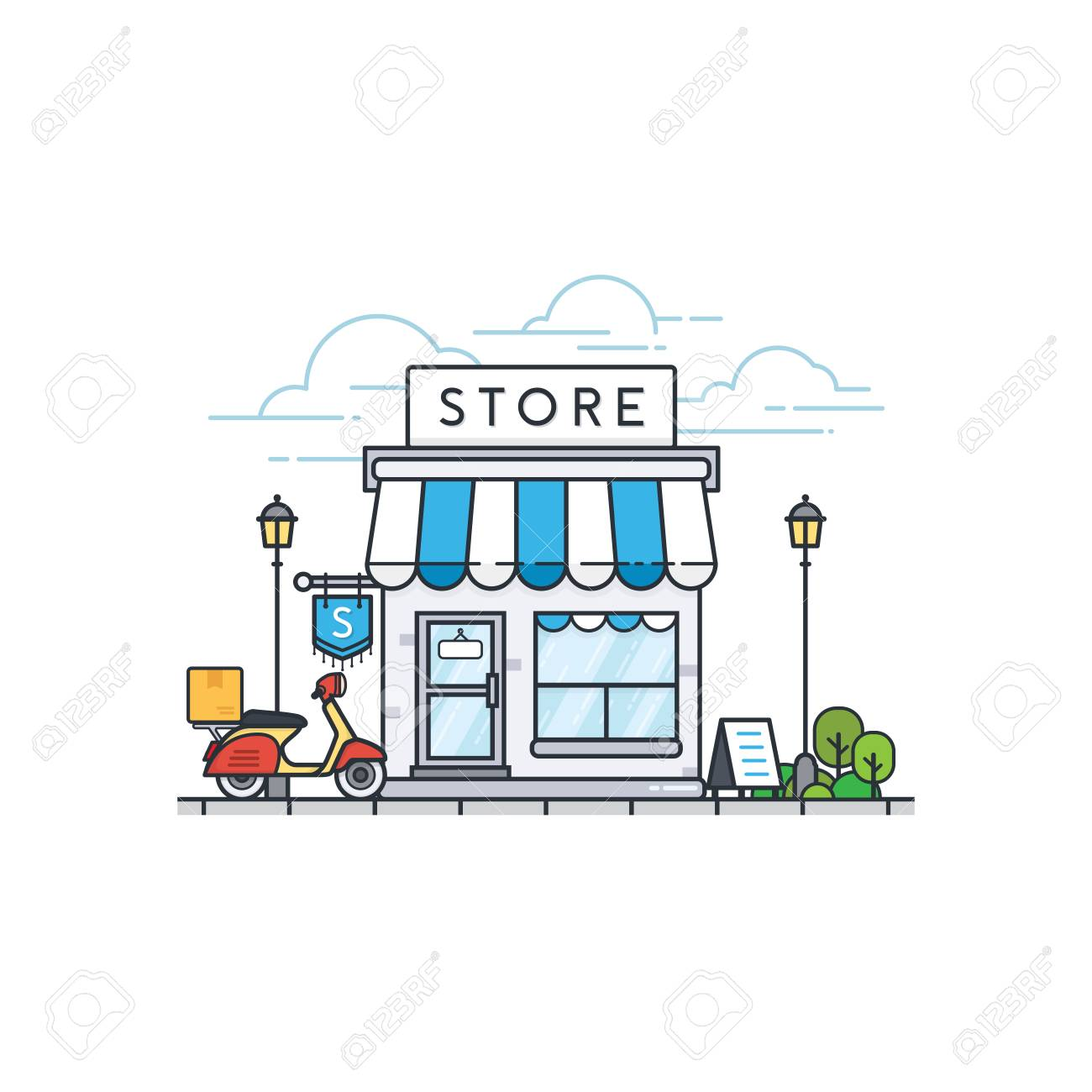 info for 787f8 d85f9 Online store building. Store front and scooter delivery. Street..