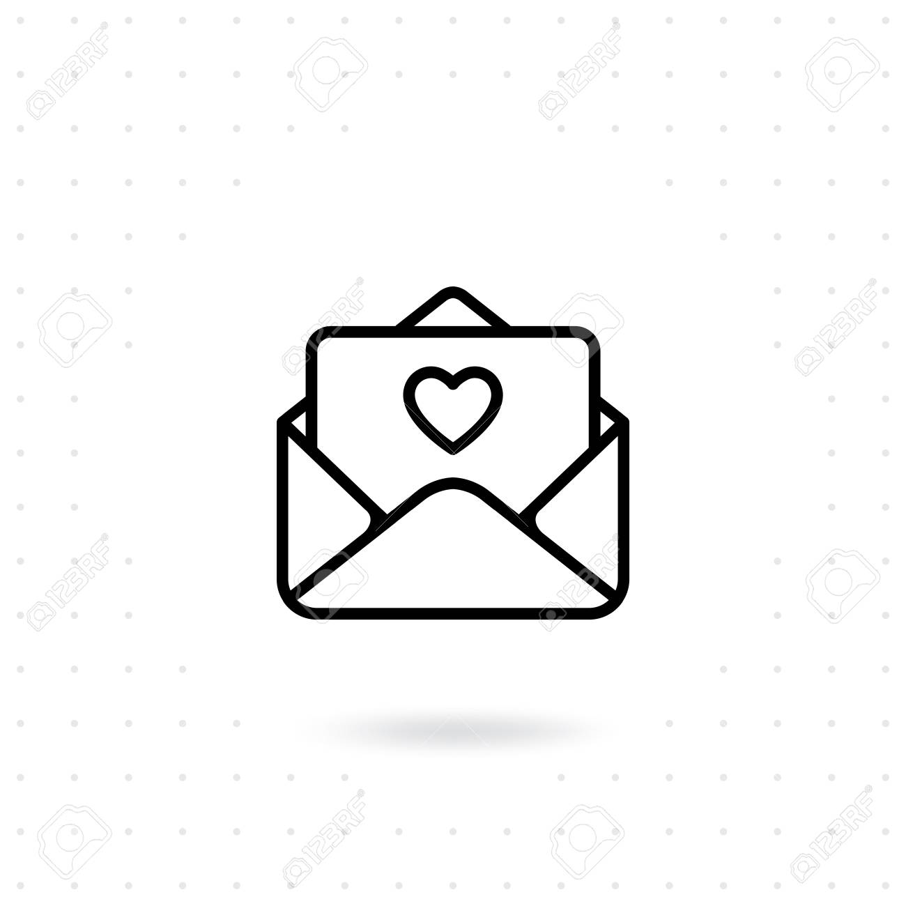 Open A Love Letter Icon Happy Valentine S Day Vector Design