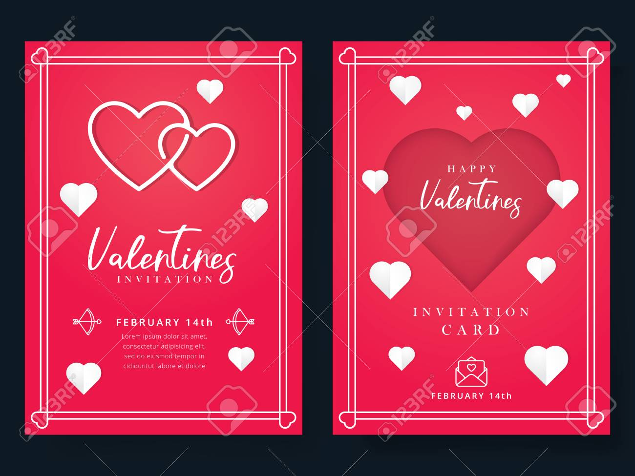 Valentines Day Or Wedding Invitation. Beautiful Greeting Or ...