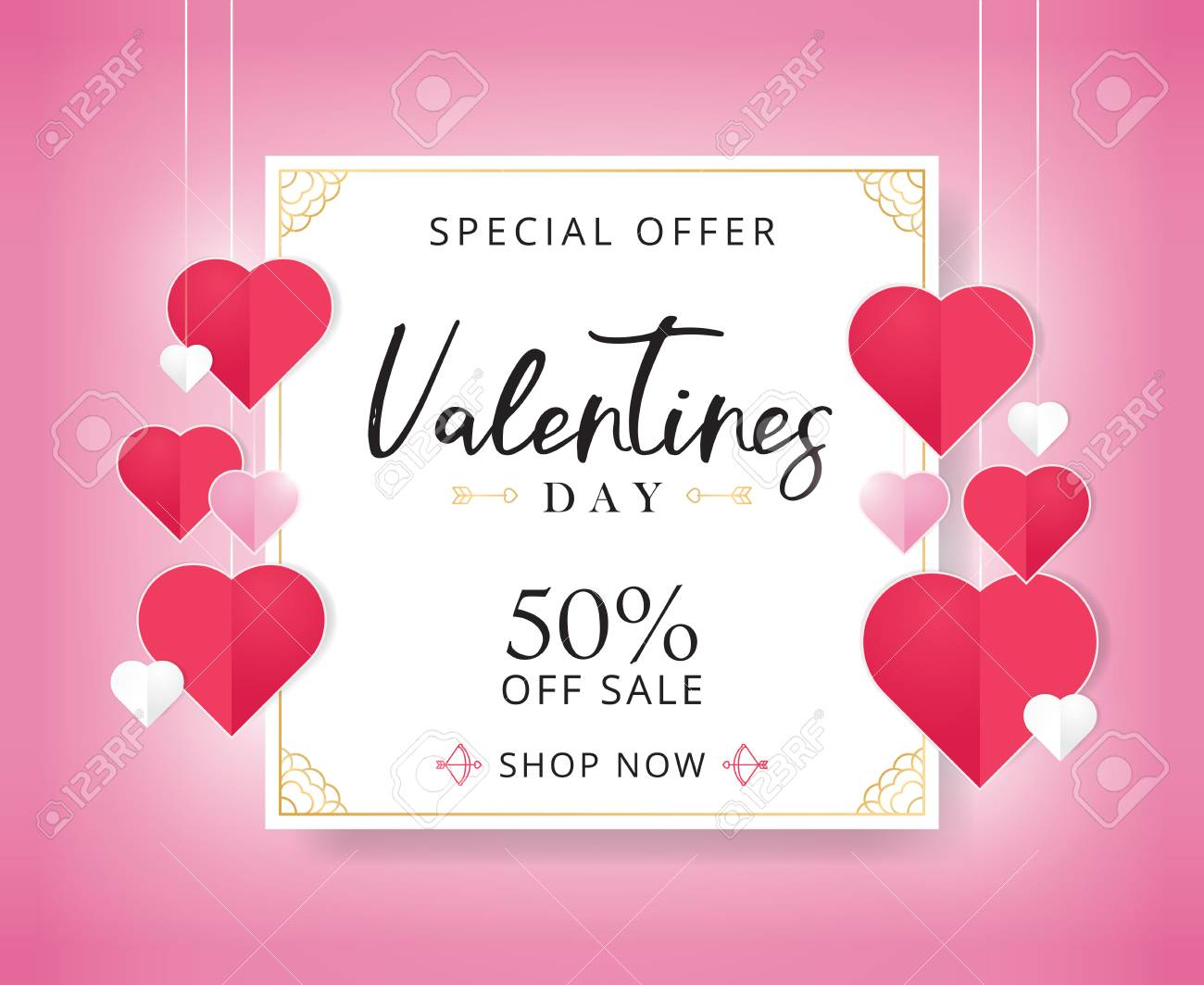 Valentines Day Sale Background With Heart Shaped Flyer Template