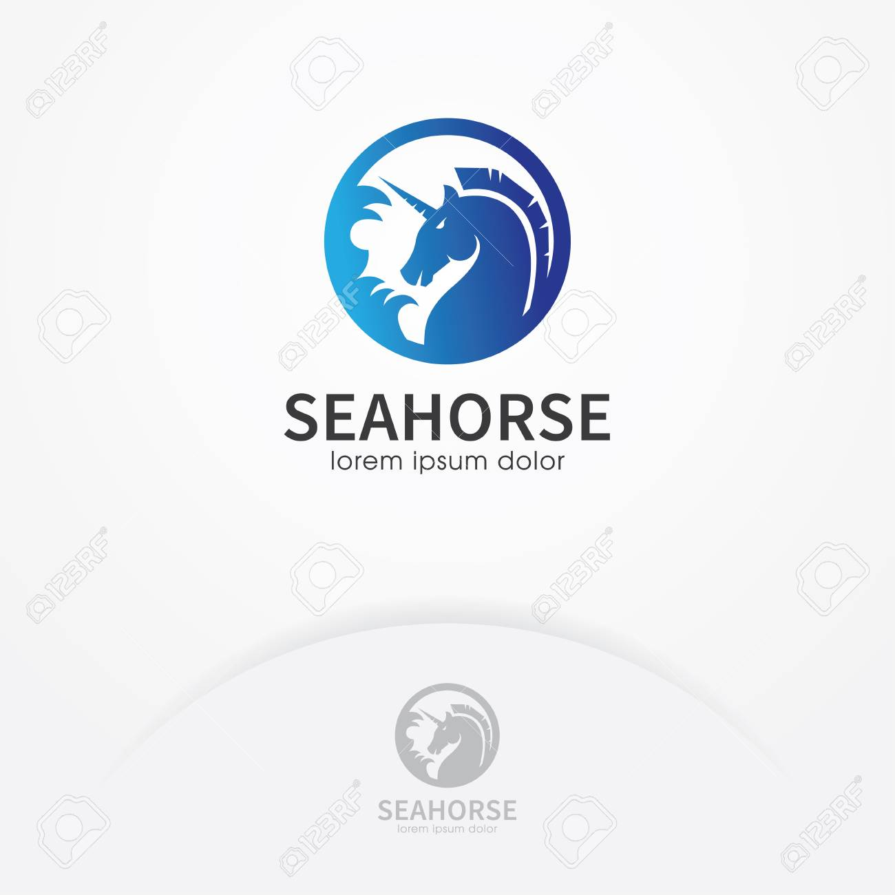 Blue Seahorse Logo Design Seahorse Symbol In Circle Vector Royalty Free Cliparts Vectors And Stock Illustration Image 95147626