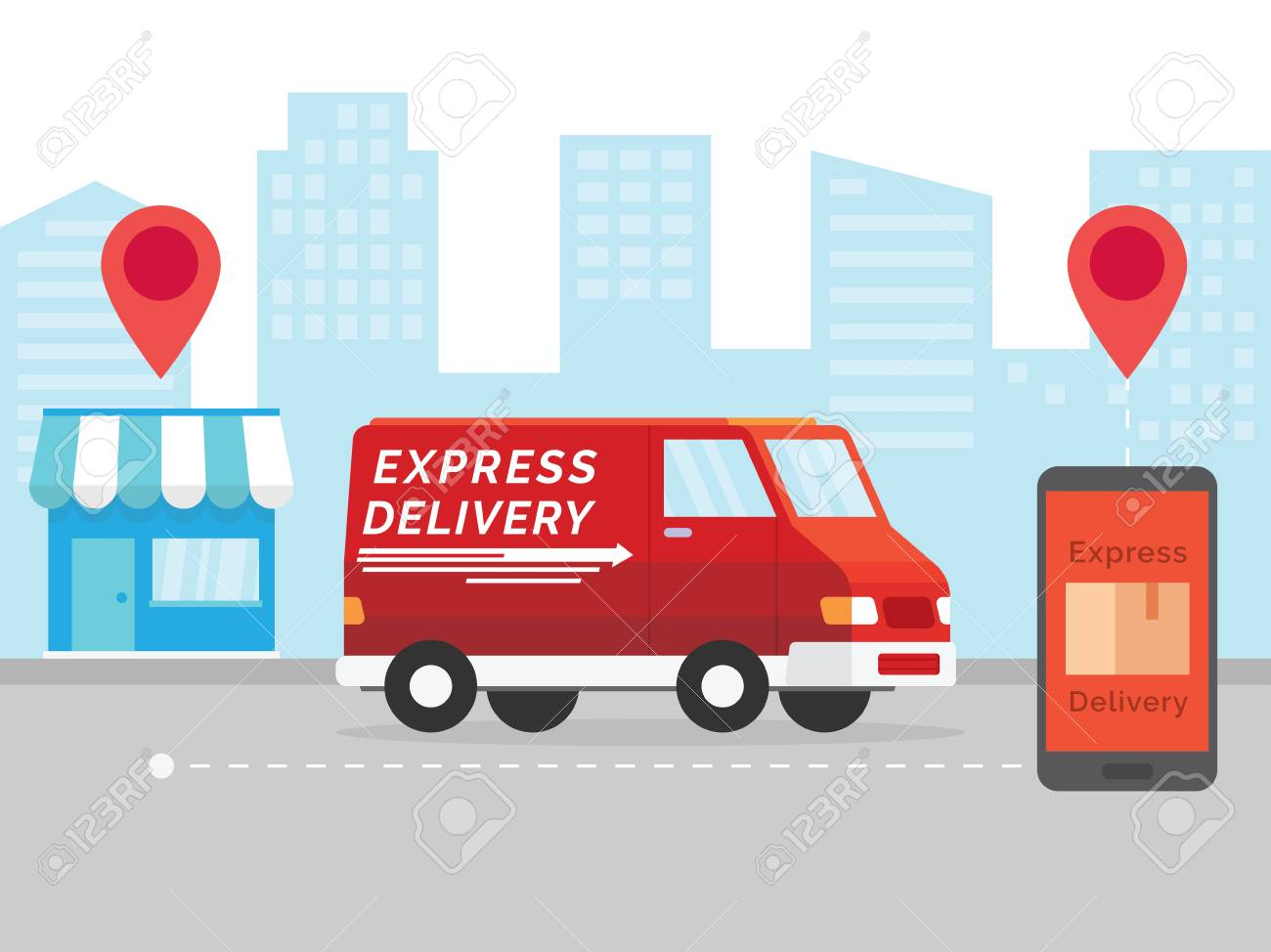 Express Delivery Concept. Delivery Service App On Mobile Phone... Royalty  Free Cliparts, Vectors, And Stock Illustration. Image 119509874.