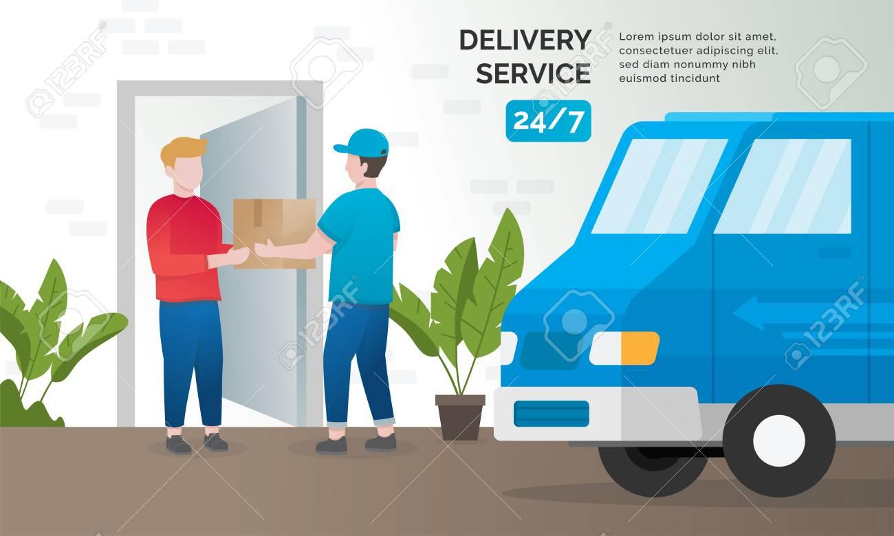 Illustration concept of delivery services. Express delivery concept, Delivery parcel to door. Vector illustration - 119509876