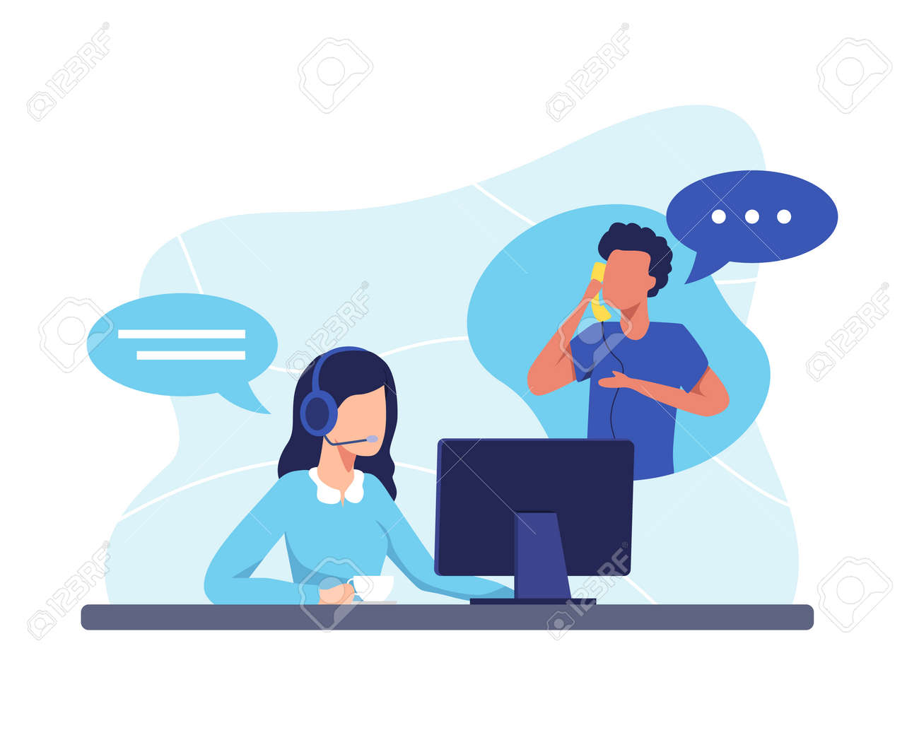 Female hotline operator advises client, Customer service, Customer and operator. Online global technical support 24 hours. Vector illustration in a flat style - 165418330