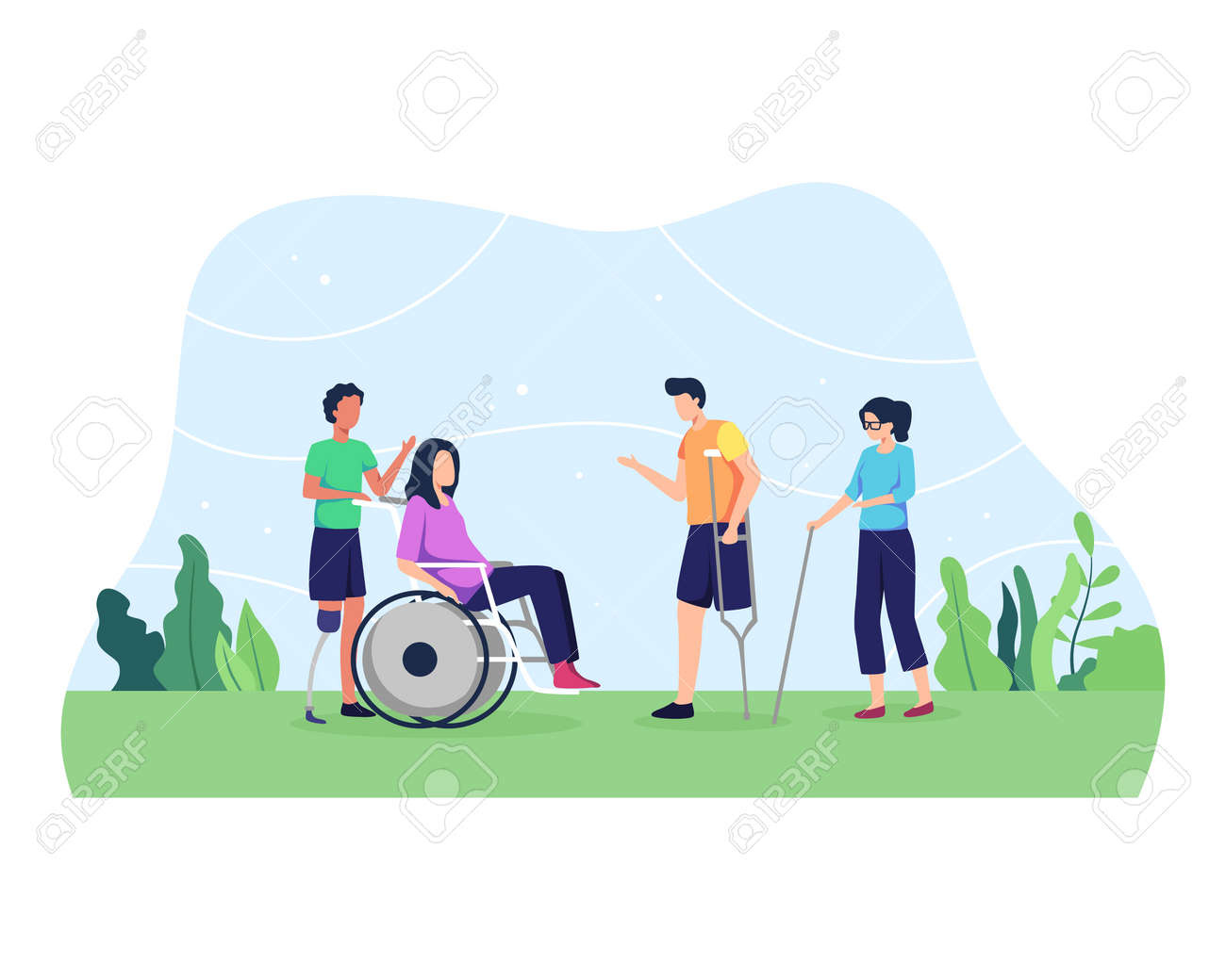 World disability day, Group of men and women, Day of people with disability. Group of disabled people with special needs, on Wheelchair, with Prosthesis. Vector in flat style - 165768490