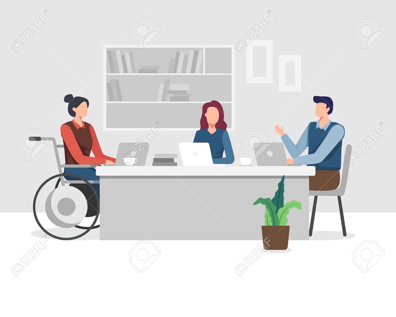 Young women with disabilities work in an office with a team, Meeting and Brainstorming project. Young woman in wheelchair working with colleague. Vector in a flat style - 165767610