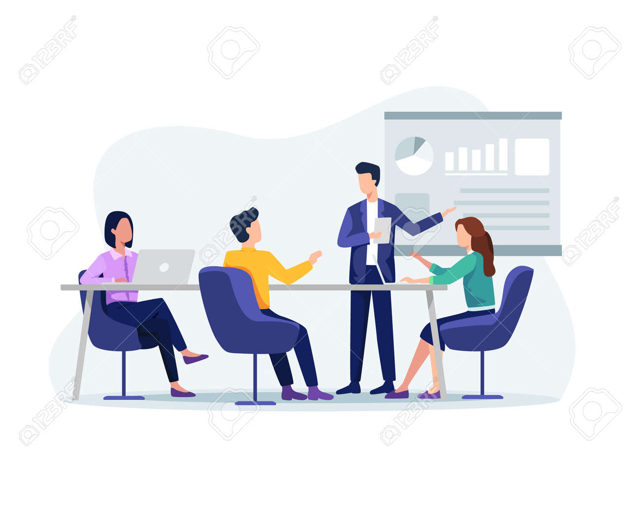 People on presentation conference, Businessman at project strategy. Business people working together, Presentation and discussion of the project. Vector in a flat style - 166401423
