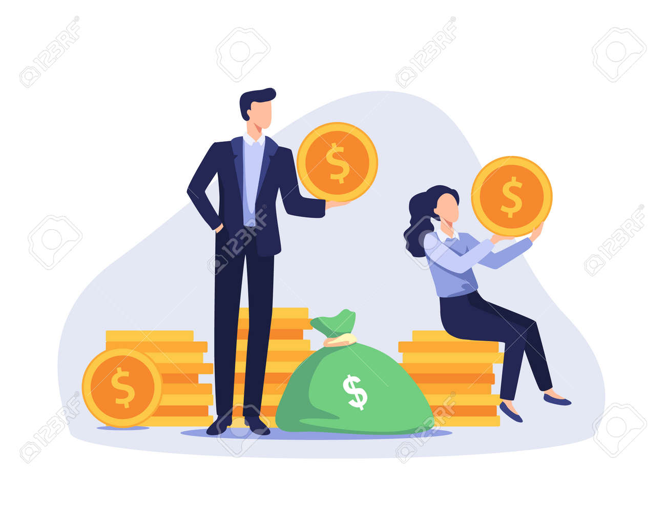 Successful businessman and businesswoman standing and sitting on coins stack. Profitable investment, Stock market income. Vector illustration in a flat style - 166401286