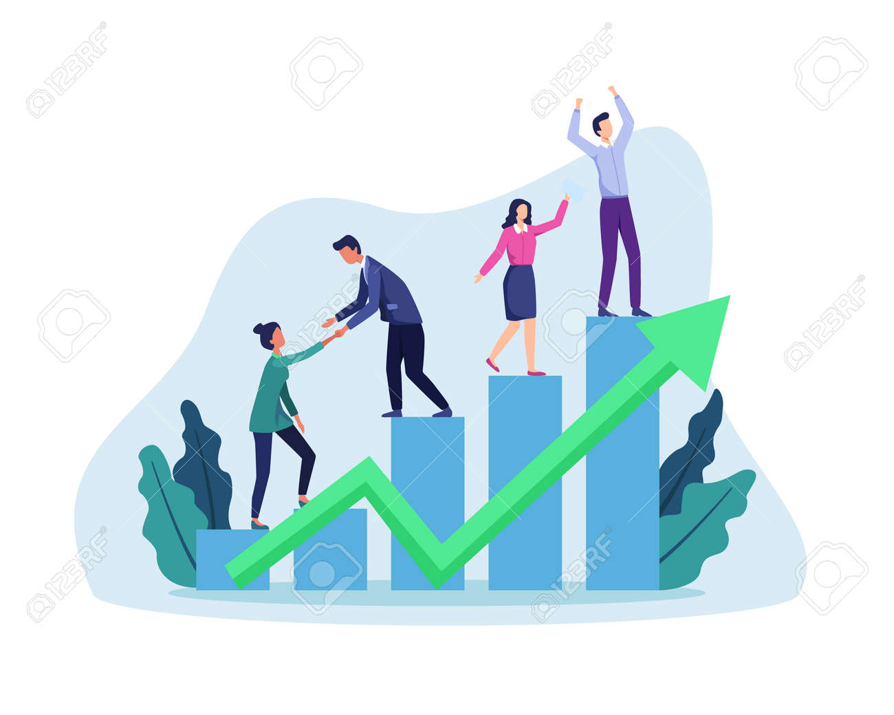 People walking up drawn stairs to success, Stepping on chart bar. Corporate growth plan, Business development to success and growing growth concept. Vector in flat style - 166401439