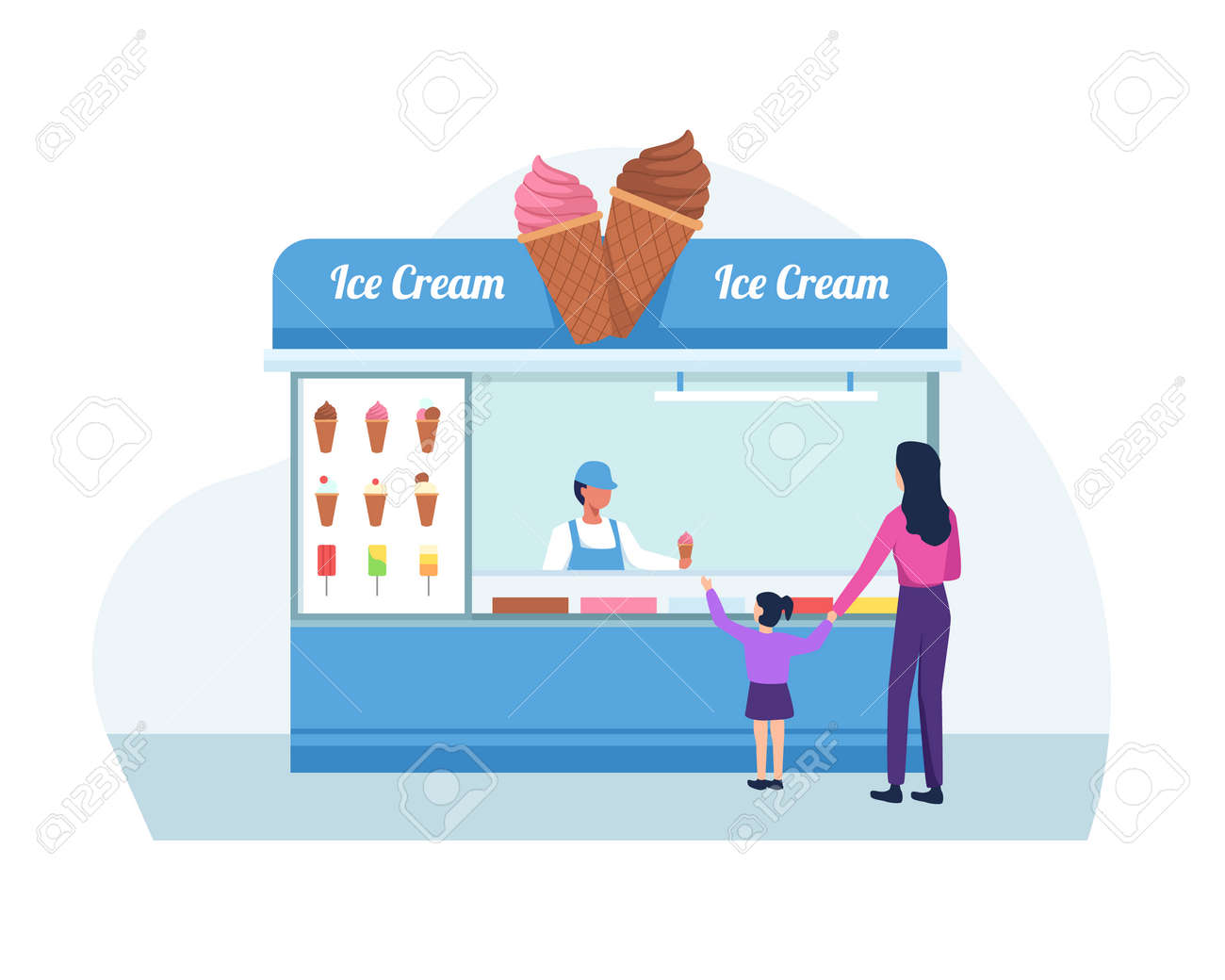 Ice cream seller, Mother and daughter buy ice cream. Shop owner holding the ice cream. Vector in a flat style - 167019509