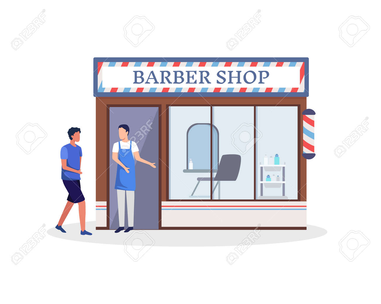 Barber stand in front of a haircut shop. Small business and self-employment concept with a man standing at the entrance to his barber shop. Vector in a flat style - 167019458