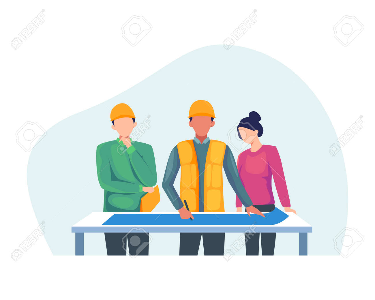 Construction worker holding blueprint, Architects discuss a project. Construction of buildings according to drawings, Contractor and engineer character. Vector in flat style - 168304452
