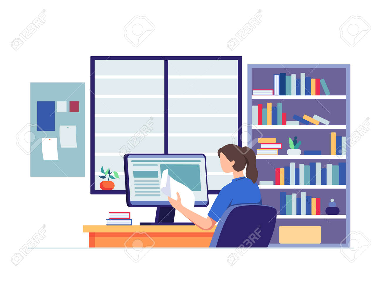 Young woman sitting at desk, Looking at computer and studying with book. Woman with school homework, Reading a test, Online education concept. Vector in flat style - 167492142