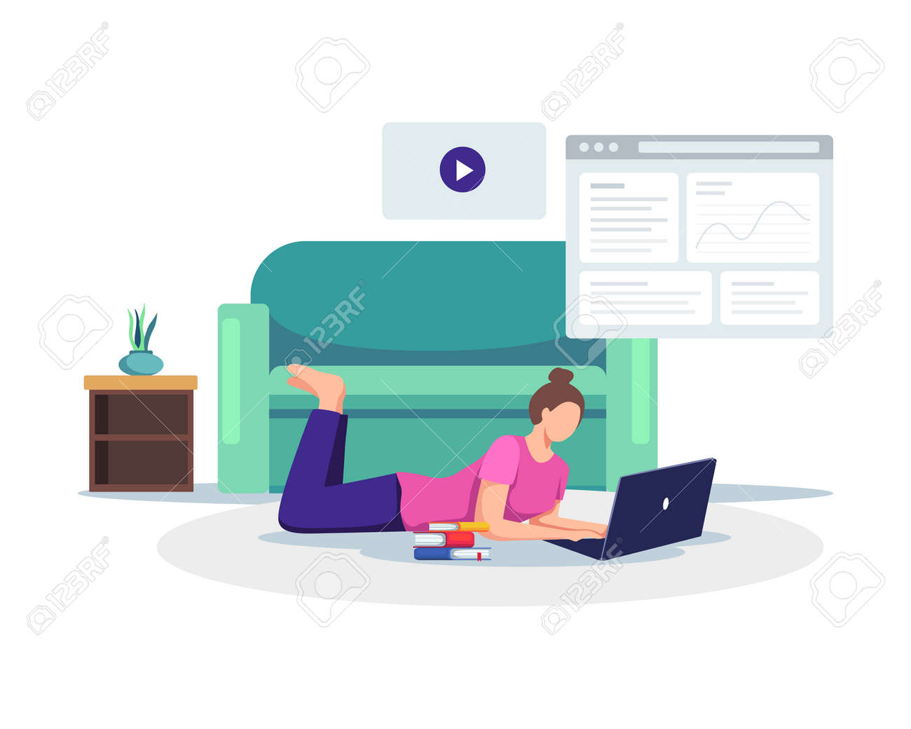 Young female student with laptop take online class from home. Student watching online courses, Working on test, E-learning, Online training. Vector in a flat style - 167488240