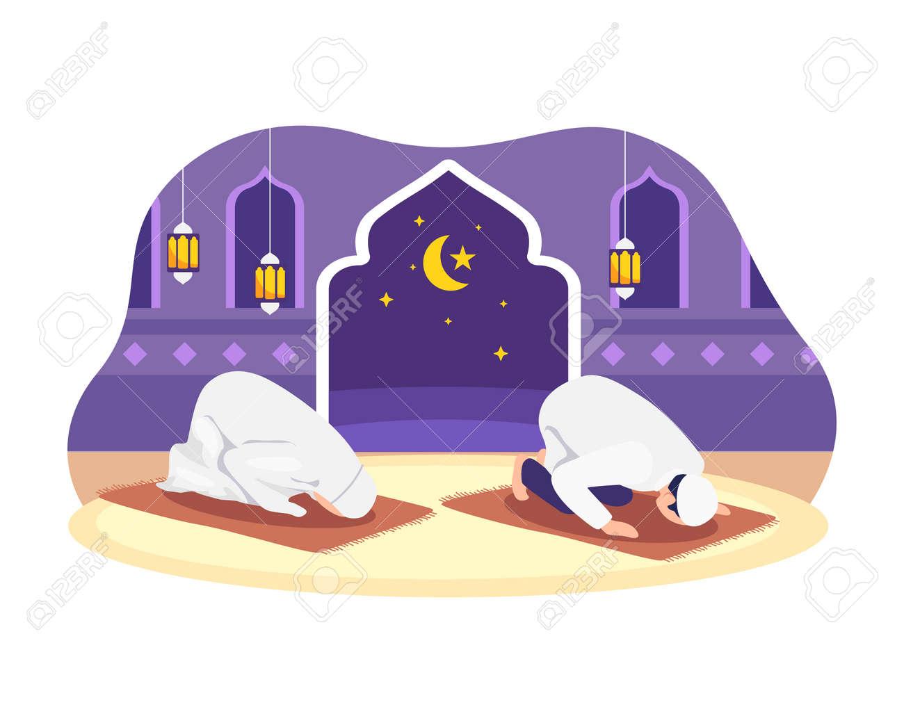 Muslim people tarawih prayer in congregation. Muslim Perform taraweeh prayer night during ramadan. Prayers in congregation at home. Vector in flat style - 168304453
