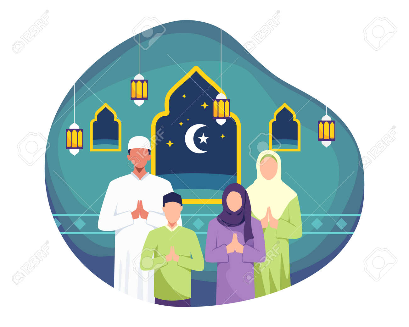 Happy family greeting and celebrating Eid mubarak. Man and his wife doing greeting, Muslim people wishing and greeting Eid al-fitr. Vector in a flat style - 168304454