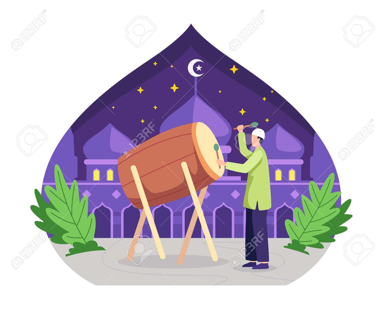 Happy muslim hitting drum and celebrating Eid Mubarak. Ramadan kareem celebration, Happy fasting and iftar party. Vector illustration in a flat style - 168304455
