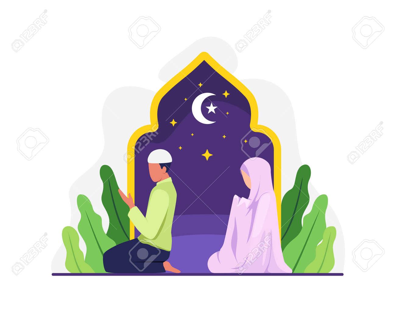 Muslim people tarawih prayer in congregation. Muslim Perform taraweeh prayer night during ramadan. Prayers in congregation at home. Vector in flat style - 168304457