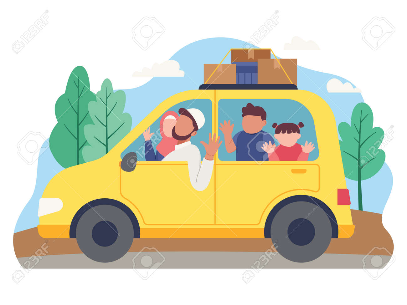 Muslim family goes on holiday using a car. Family goes to home village to celebrate Eid Mubarak. Vector illustration in a flat style - 168304467