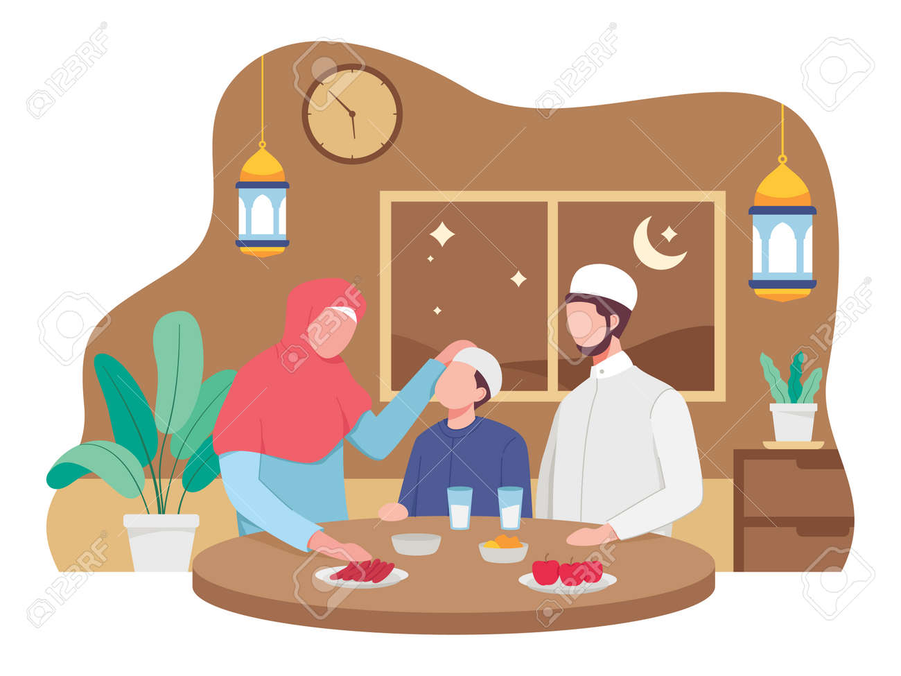 Muslim family eating Ramadan iftar together. Moslem family preparing iftar meal. Vector illustration in a flat style - 168291071