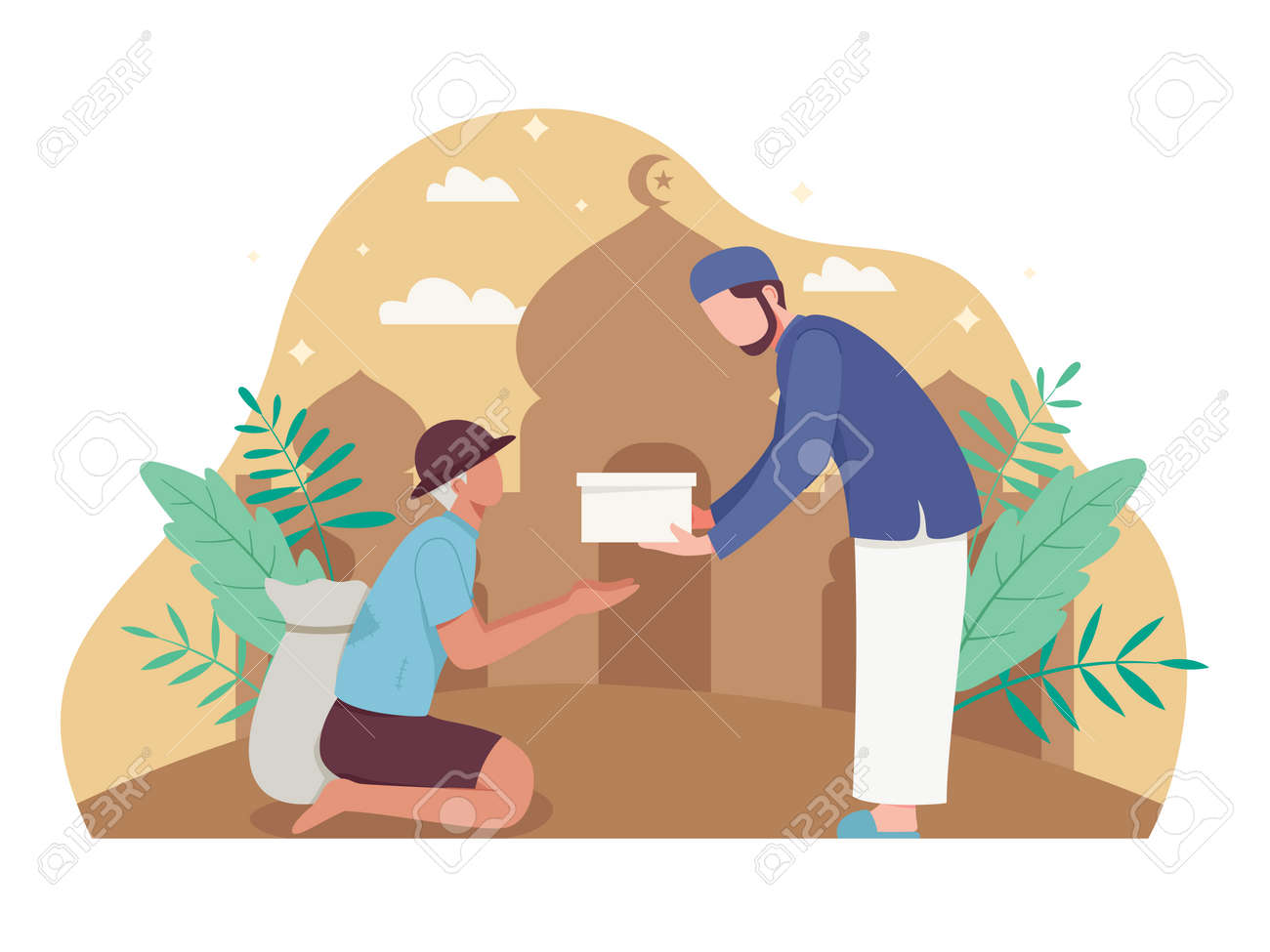 Man giving alms or zakat in the holy month of Ramadan. Muslim giving donation to a poor homeless man. Vector illustration flat style - 168291073