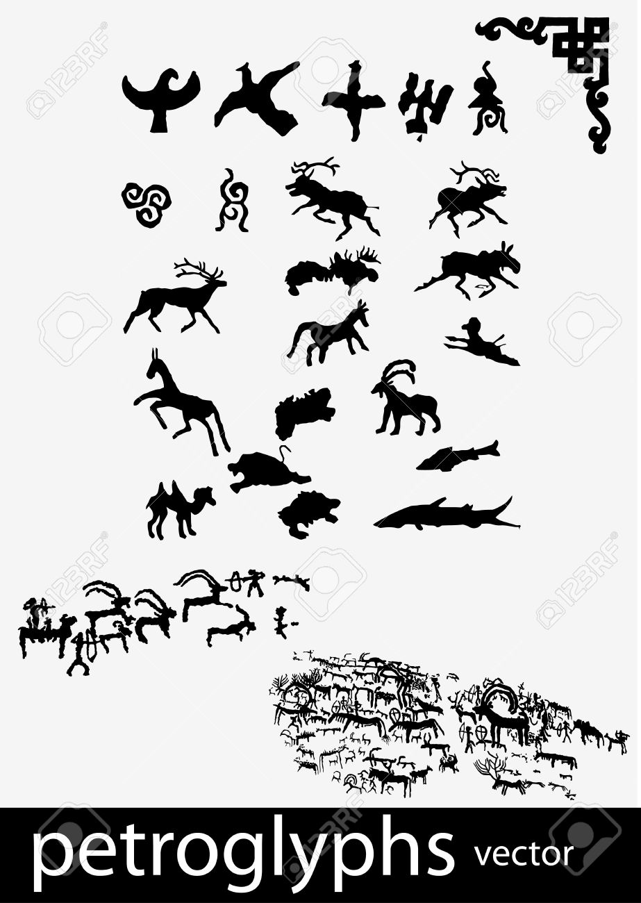 Petroglyphs And Ethnic Symbols Royalty Free Cliparts Vectors And