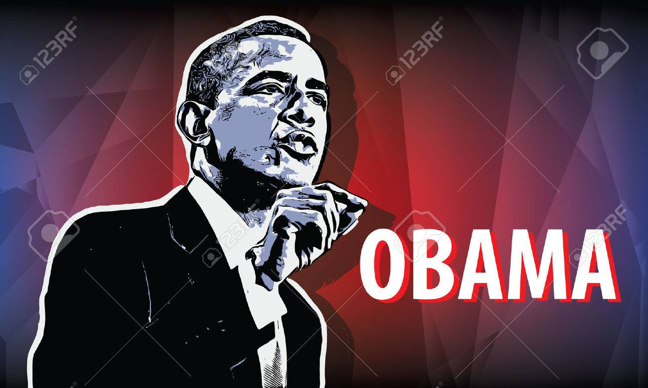 USA President Obama  Vector illustration in style comics picture