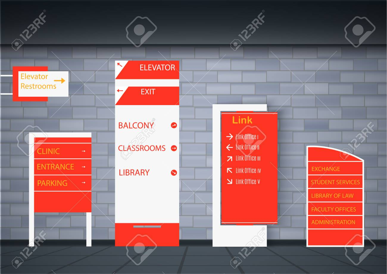 Set signage.Direction,pole, wall mount and traffic signage system design template set.Exterior and interior signage concep. Office exterior monument sign, pylon sign, signage,advertising construction. - 107408949