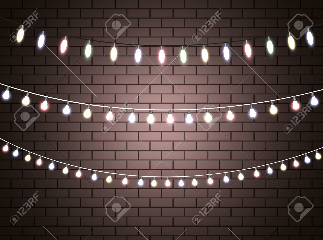 Christmas Lights Isolated Realistic Design Elements Glowing