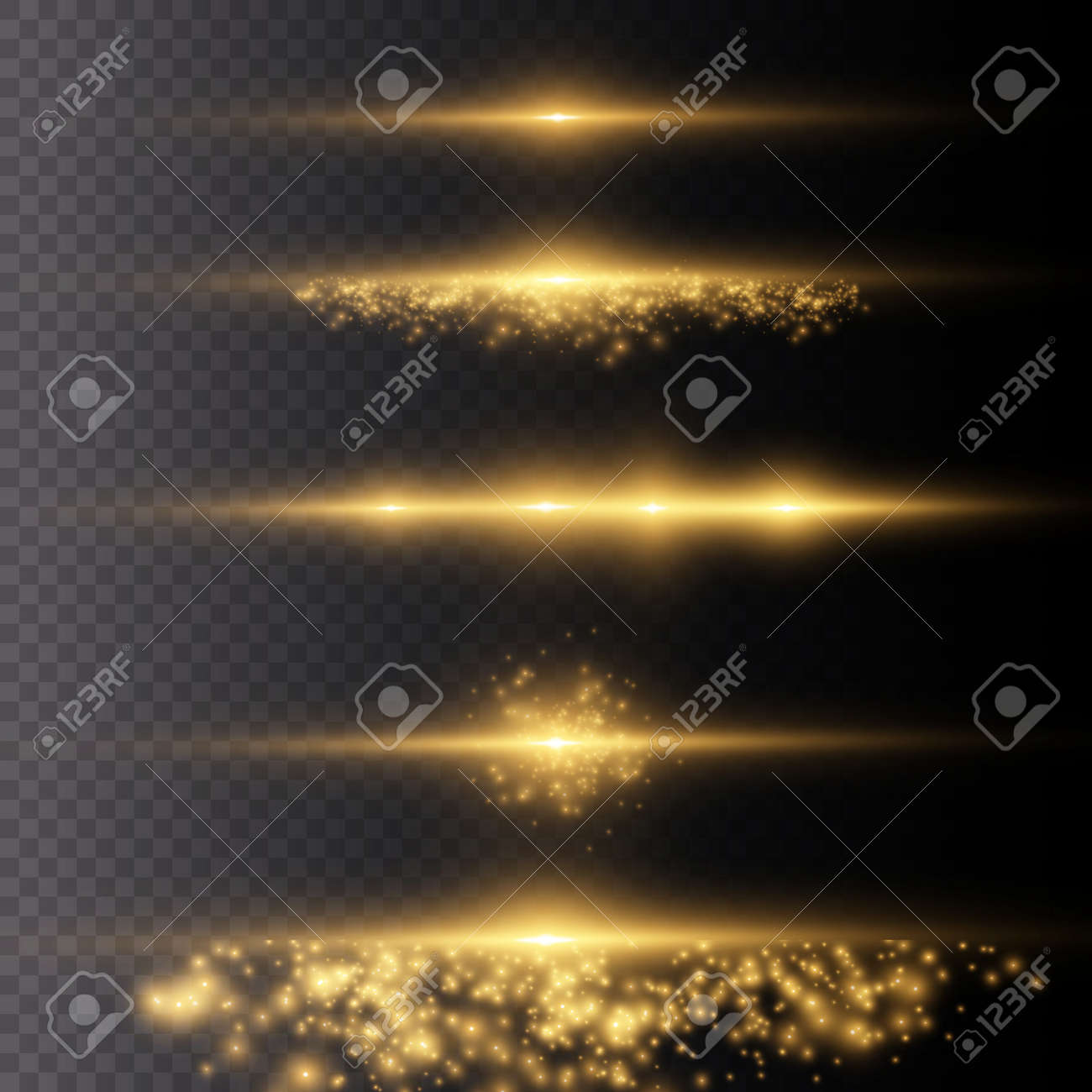 Sparkling magical dust particles. Yellow glowing light explodes on a transparent background. Transparent shining sun, bright flash. To center a bright flash. Bright Star. Vector sparkles. - 146012109