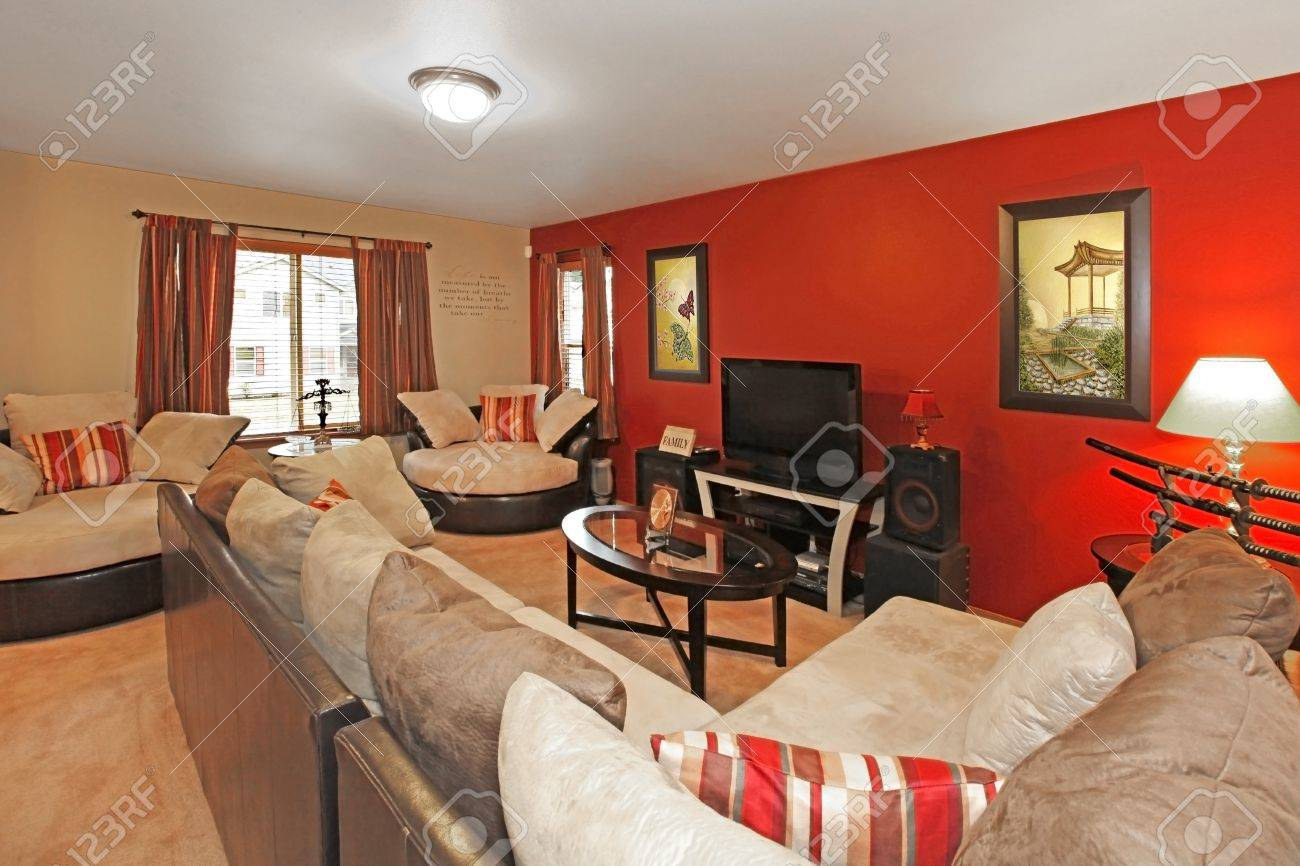 Asian style of living room with asian art and red wall Stock Photo - 12313546