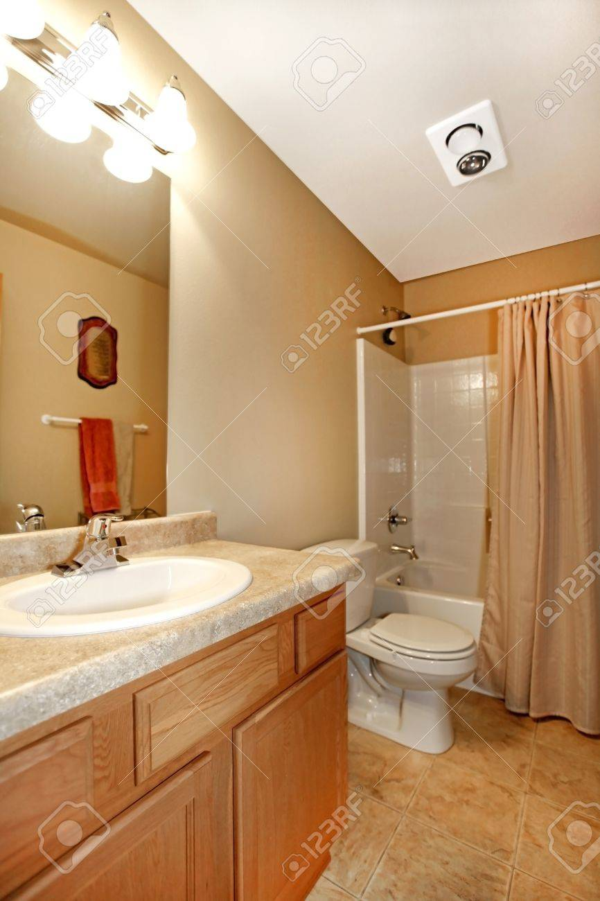 Bathroom with green walls and white sink Stock Photo - 12313447